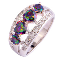 Gorgeous Jewelry Wholesale Fashion AAA Heart Cut Rainbow Topaz White Topaz 925 Silver Ring Size 6 7 8 9 10 11 12 Free Shipping