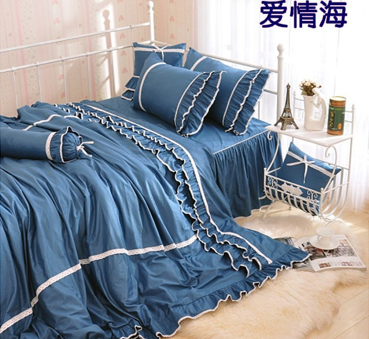 Brief Ocean style 100% Cotton 1.2M 1.5M 1.8M 2.0M bed 3pcs Child 4pcs Princess girl blue lace comforter cover bedding set/3009(China (Mainland))