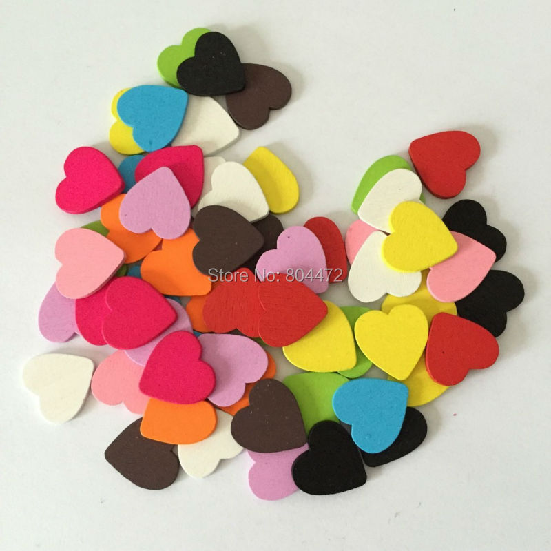 (200pcs/lot) White Red Pink 18mm Mini Wooden Hearts Pieces Decor Ideal Art Craft Card Making Scrap Booking Wedding Favor(China (Mainland))