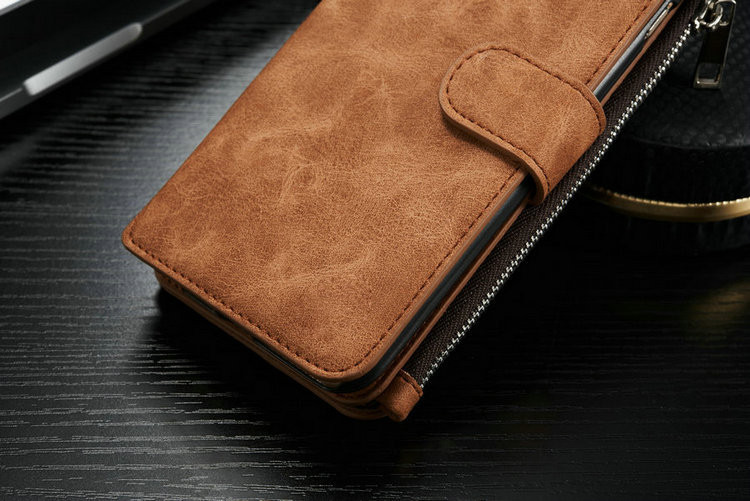 Luxury Genuine Leather phone cases for iphone 6/6s/6plus/6splus with Zipper Wallet Card Multifunction phone back covers Hot
