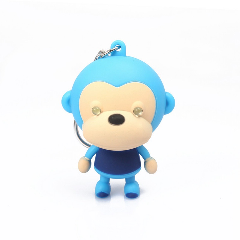Big Mouth Monkey light-up toy LED Light+Sound Adorable animal keyring Bag pendant Cute Giveaway Torch keychain Decoration Totems(China (Mainland))