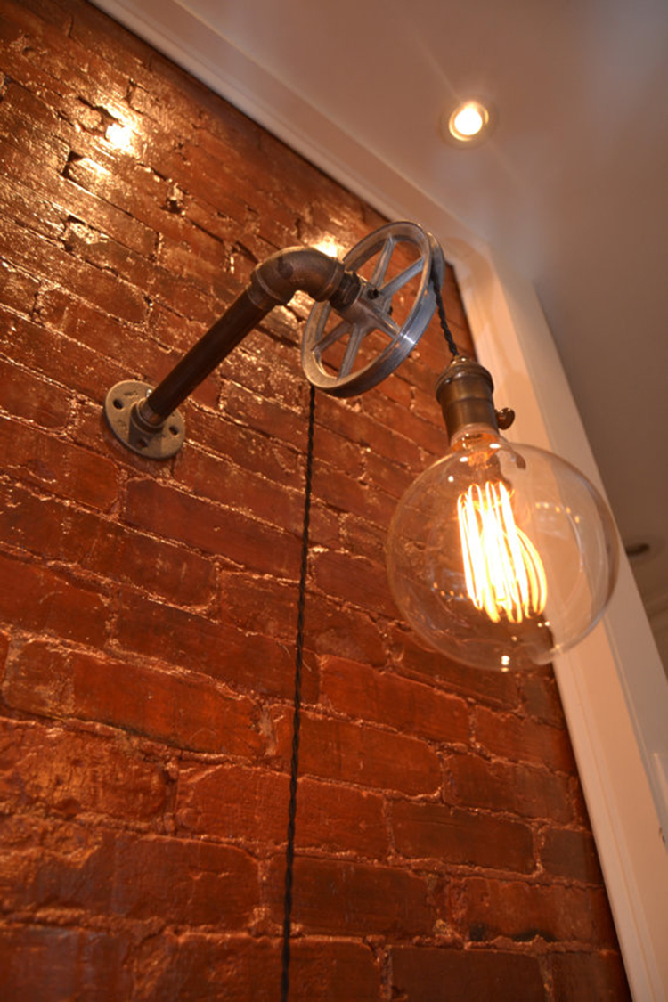 Loft Vintage Nostalgic Industrial Lustre Water Pipe Pulley Wall Sconce Lamp Resturant Hotel Bar ...