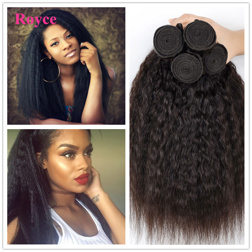 6A Mongolian Pure Coarse Yaki Human Hair Extensions 3Pcs Virgin Mongolian Kinky Straight Weave Instock Light Yaki Hair King Hair