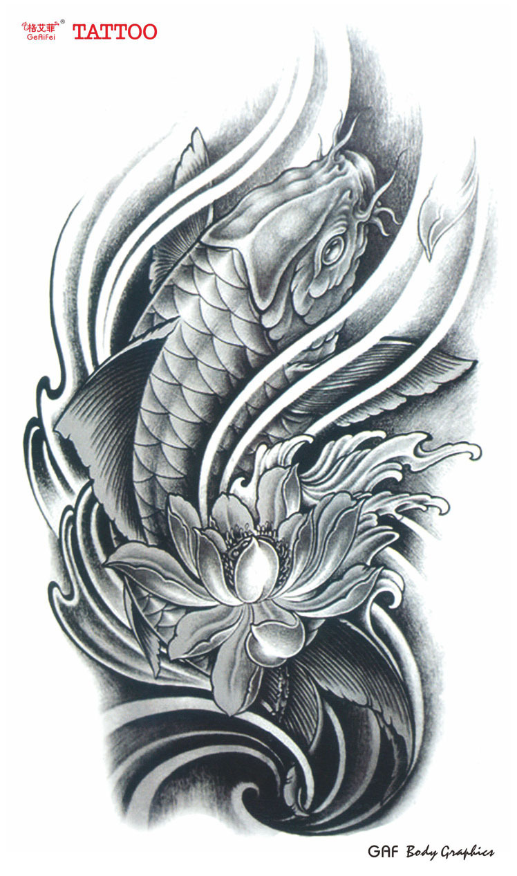 Large temporary tattoo stickers waterproof women men high for High quality koi