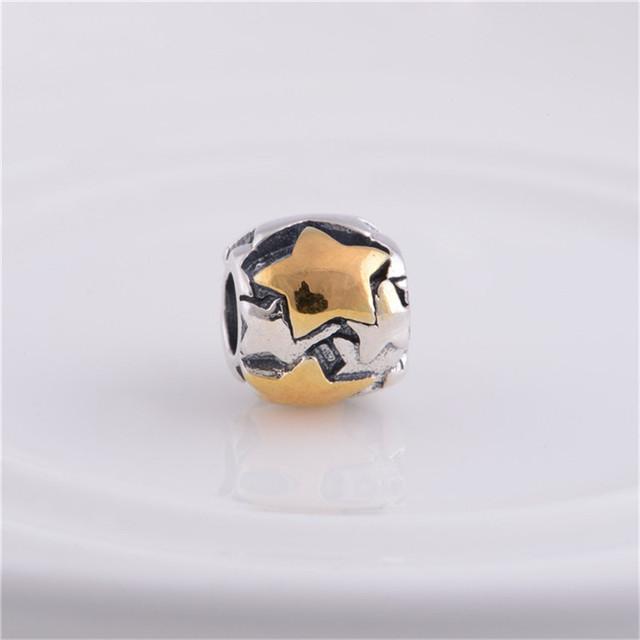 Fit подвески пандора браслет 925 серебряные ювелирные изделия бусины звезда шаблон шарм DIY мода ювелирных изделий