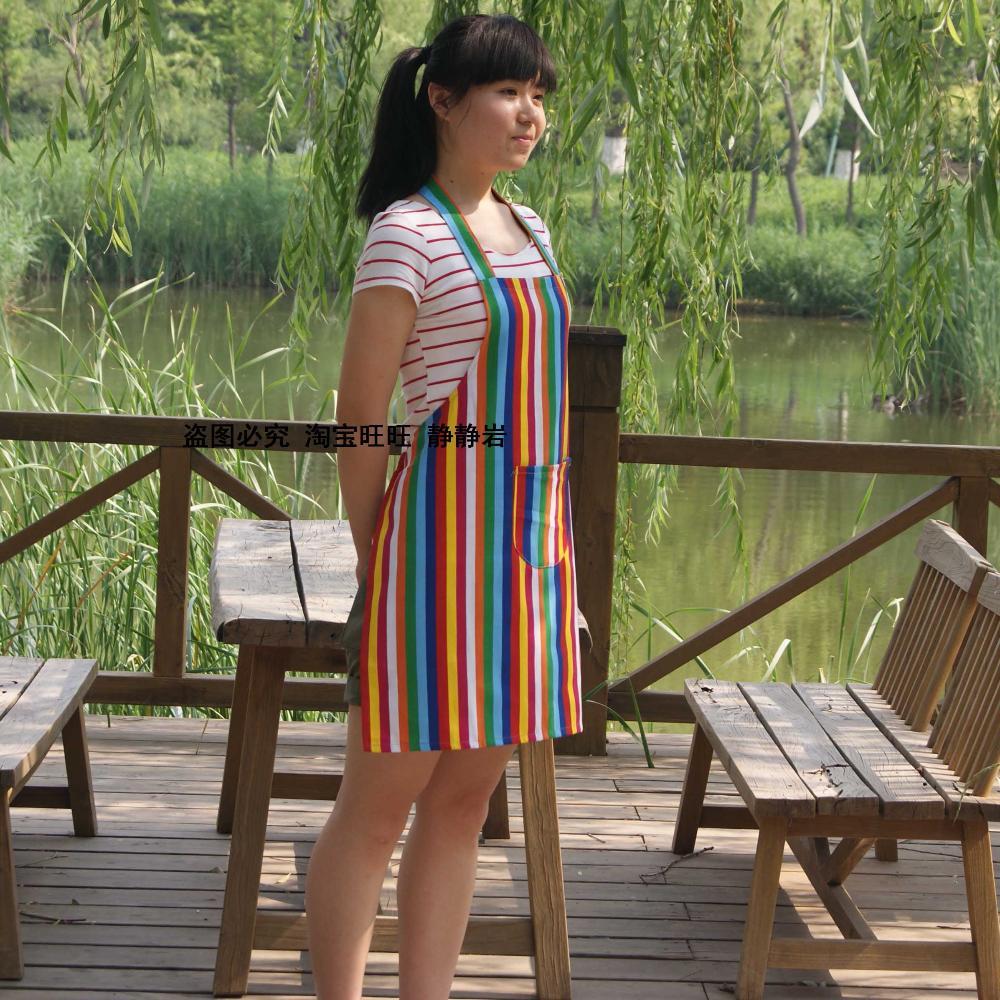 Free shipping wholesale sale promotion Chromatic stripe hotsale Cafe kitchen antifouling waterproof uniform brown apron(China (Mainland))