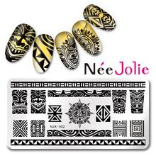 Nail Art Плиты Изображения Урожденная Джоли Бренд Прямоугольник Ногтей Штамповки Шаблон NJX-002 Майя Стиль Дизайн Плиты Изображения 12*6 см(China (Mainland))