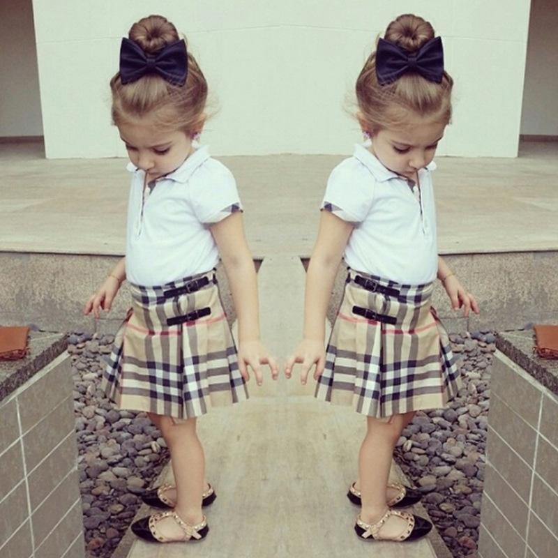 Girls Clothes Set European Kids Short Sleeve Lapel T shirt And Plaid font b Scotland b