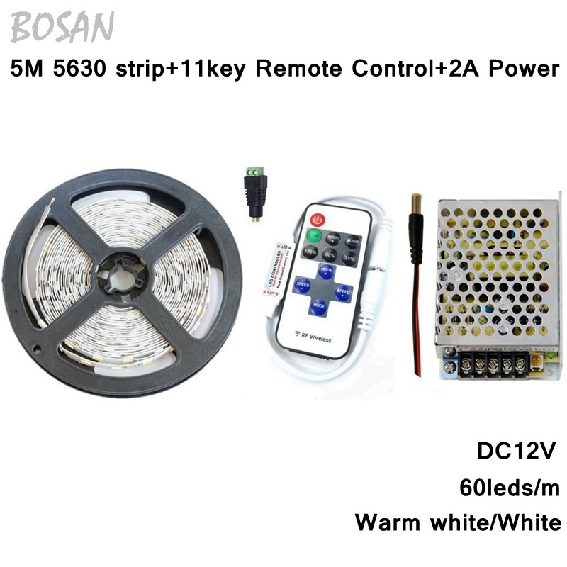 5m led strip 5630 300leds white warm white strip lights and remote controller and 2A Switching Power Supply for home decoration(China (Mainland))