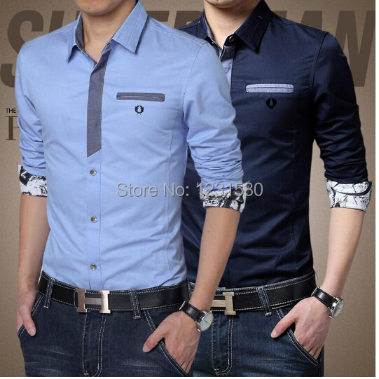 he latest men's business shirt with long sleeves formal ...