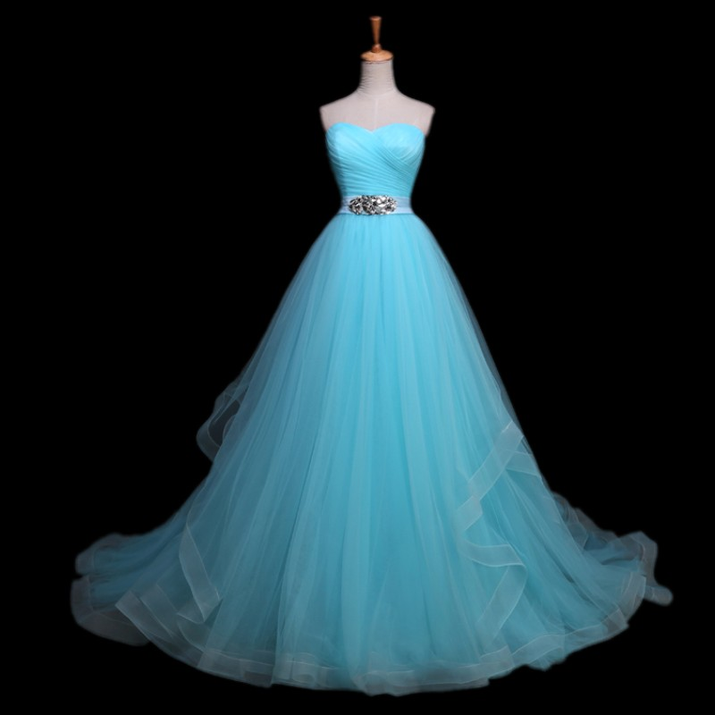 Elegant crystal beaded sashes vestido de noiva light blue for Light blue dress for wedding