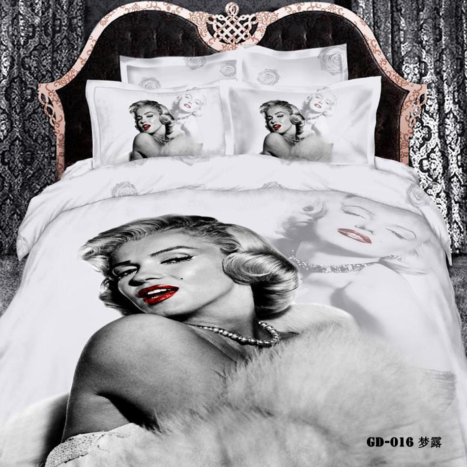 (3-7PC/set) 100% organic cotton Romantic black and white king size marilyn monroe duvet cover set California King bed sheets(China (Mainland))