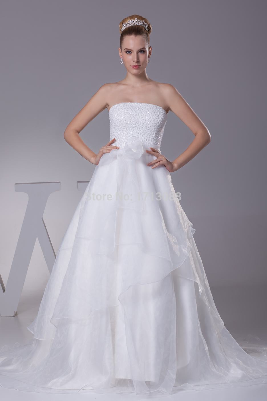 Civil wedding dress with floor length strapless beaded off for Bridal dress for civil wedding