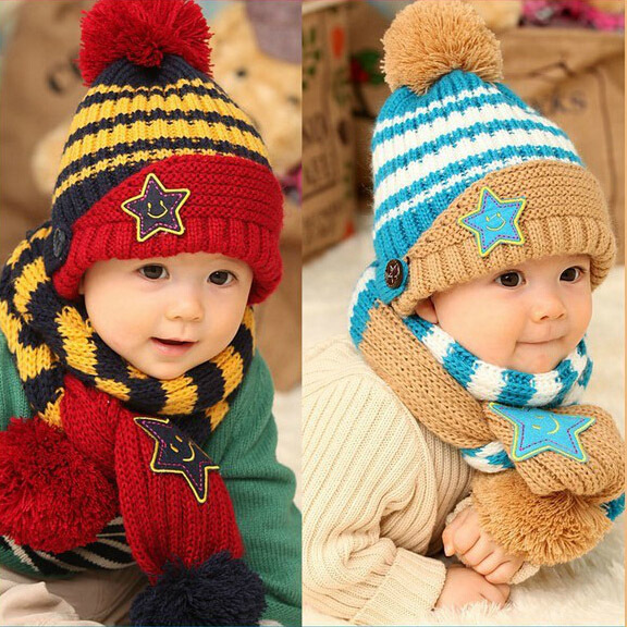 pentagram children accessories clothing set baby & kids winter dress scarf conjuntos toucas e cachecol hat - iGem store