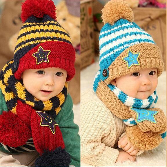 pentagram children accessories clothing set baby & kids winter dress scarf conjuntos toucas e cachecol hat - iGem store