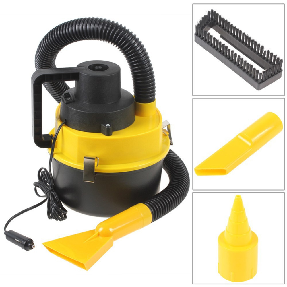 Wet And Dry 12V Portable Auto Car Dust Vacuum Cleaner Handheld Mini Car Vacuum Cleaner With Brush / Crevice / Nozzle Head(China (Mainland))