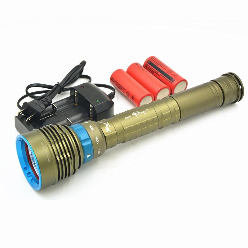 Здесь можно купить  New 14000Lm Scuba Diving 7x CREE XM-L2 LED Dive Flashlight Torch Light Lantern With 3x 26650 Battery & Charger,Free Shipping  Свет и освещение