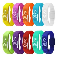 Dropshipping 2015 Newest Candy Color Led Touch Digital Wrist Watch Silicone Jelly Waterproof Sports Bracelet Watch Women Gift