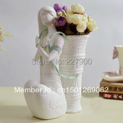 Unique Flower Vase Beautiful Girl Flower Basket Ceramic White Decorative Vase Modern Simple Wedding decoration Vase(China (Mainland))