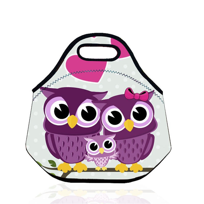 B128 Thee Owl Portable Bag Pattern Thermal Insulated Cooler Neoprene Picnic Bag Waterproof Lunch Bag Kids Snack Food Storage Bag(China (Mainland))