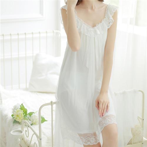 2015 Summer Brand Sleep Lounge Pajamas Women Sleepwear Cotton White Long Nightgowns With Lace Sleeveless Home Dress Nightdress(China (Mainland))