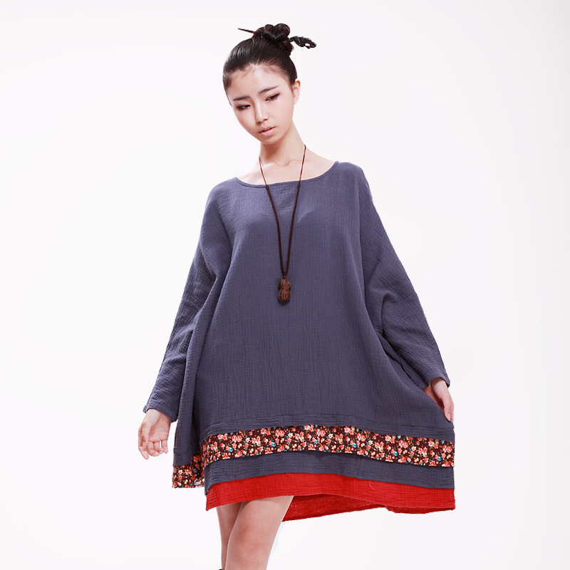 Women Autumn Plus Size Dress Chinese national Style Female Loose Large Size Batwing Sleeve Cotton Linen Patchwork Dress Одежда и ак�е��уары<br><br><br>Aliexpress