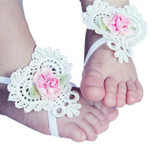 3PCS/Lot Heart-Shaped Foot Flower Barefoot Sandals Shoes+ Headband Set for Baby Infants Girls(China (Mainland))