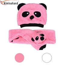 Kimisohand 2015 New Arrival Fashion Baby Girls Boys Cotton Velvet Two Pieces Panda Hat Scarves Free Shipping&Wholesale(China (Mainland))