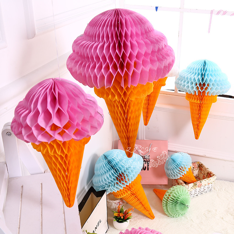 """12""""30cm Ice Cream Honeycomb Balls Paper Lanterns Wedding Decorations Kid Baby Shower Favors/Event Party/Birthday Party Supplies(China (Mainland))"""
