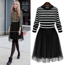 2016 New Autumn Winter Fashion Elegant Women Dress Fake Two Long-Sleeved Striped Stitching Organza Knit Dress vestidos plus size(China (Mainland))