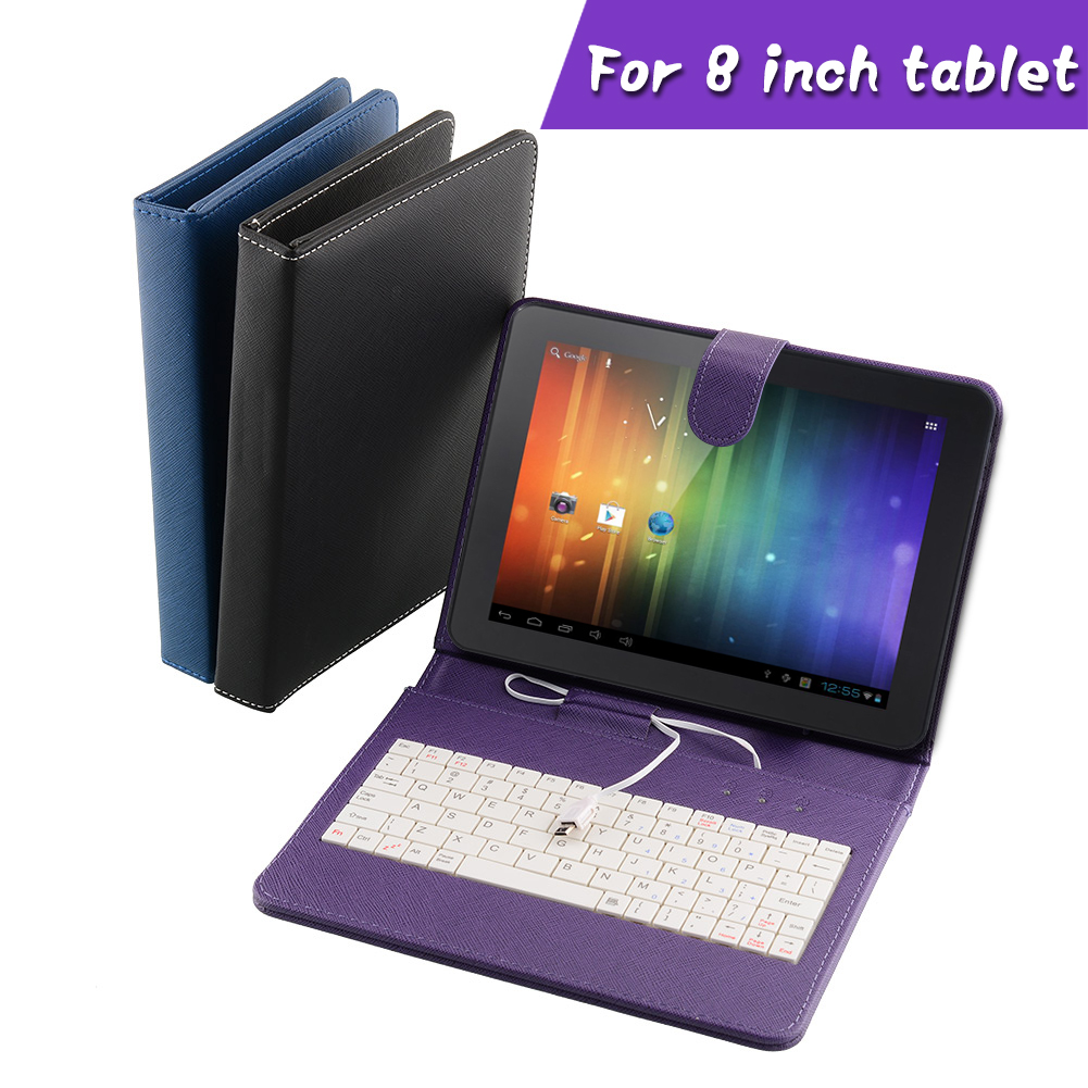 PU universal Leather Stand Case with MINI Micro USB Keyboard For 8 Inch Tablet PC professional genuine(China (Mainland))