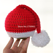 Newborn ELF Hat, Baby Elf Knitted Christmas Stocking Caps Crochet Photography Props Baby long tail hat(China (Mainland))