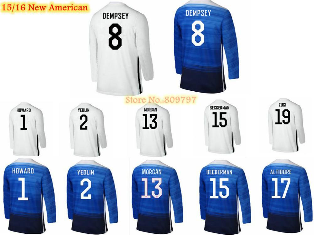 2015 2016 Home Away Long Sleeve Soccer Jersey Futbol Shirts 15/16 Morgan HOWARD YEDLIN DEMPSEY BECKERMAN ALTIDORE ZUSI Full(China (Mainland))