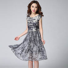 2015 Vintage Printed Gauze Chiffon Vest Dresses O-neck  Pleated Mid-Long Dress