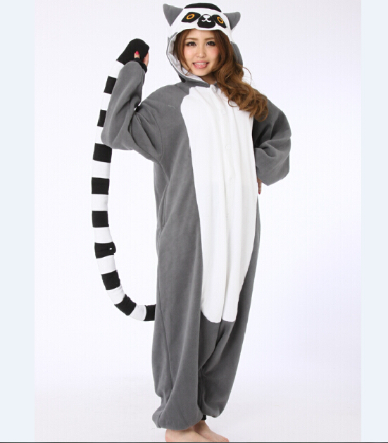 Novelty Animal Lemur Long Tail Monkey Adult Onesie Unisex Women Men's Pajamas Halloween Christmas Party Costumes(China (Mainland))