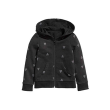 Fall And Winter Kids Girls Hooded Coat Blcak Kids Outerwear Heart-Shaped Dot Printing Zipper Hooded Sport Coat Baby Girl Coats(China (Mainland))