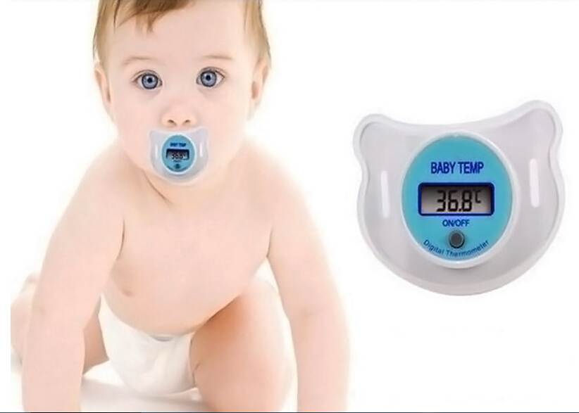Retail Packagae Baby Care Portable Digital LCD pacifier thermometer baby nipple soft safe Mouth Thermometer C BA021(China (Mainland))