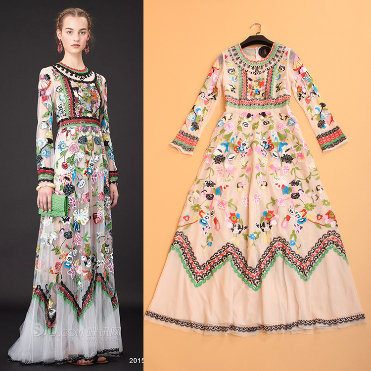 Luxury Dress Free Shipping 2015 New Arrival Popular Famous Brand Long Sleeve White Maxi Long Flower Embroidery Dress For Girls(China (Mainland))
