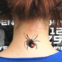 Coolest Horror Red Spider 3D Tattoo Pattern Sticker Waterproof Summer Beach Temporary Body Art FREE SHIPPING