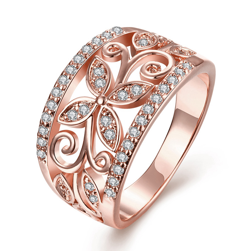 2016 Hot Zircon Wedding Engagement Rings Hollow Out Flower Pattern CZ Crystal Rose Gold Party Ring For Women Brand Jewelry(China (Mainland))