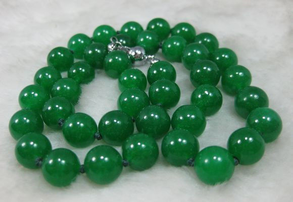 2015 Natural 12MM Green Jade Bead Necklace For Women Rope Chain Jasper Fashion Jewelry Gift For Women Girl (Minimum Order1)(China (Mainland))