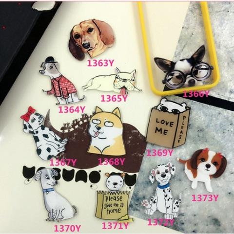 2016 Cartoon acrylic fruit Badge Shirt Collar Pin Brooch Lovely dog cute cartoon Lapel Pin brooch small mini button brooches(China (Mainland))