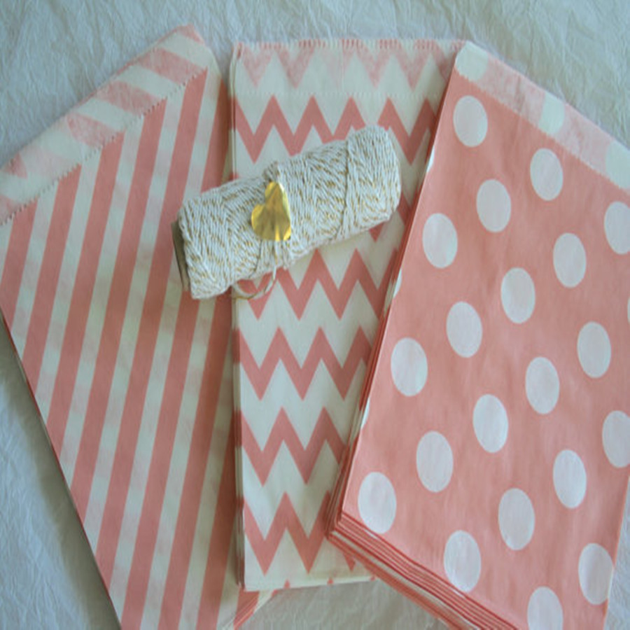 65 Light Coral Pink Paper Bags Wedding Favors Candy Buffet Treat Goodie Gift Package - My Little Day store