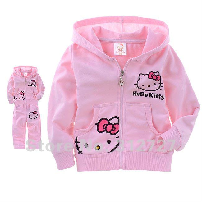 Free shipping 5sets/lot lovely hello kitty children's suit girls outfits thin style for spring and autumn pink/white(China (Mainland))