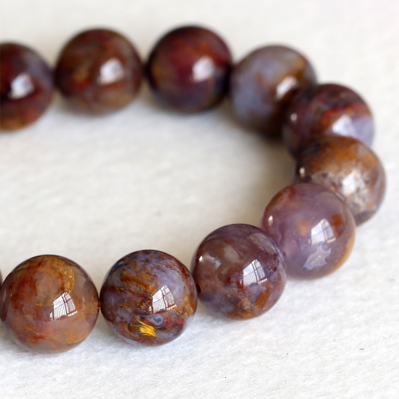 Natural Genuine A Zambia Gold Brown Pietersite Stretch Mens Stretch Finish Bracelet Round  Big beads 14mm 04337<br><br>Aliexpress