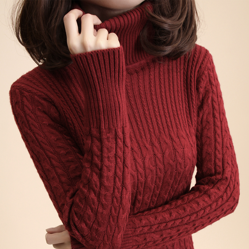 Free-Shipping-Women-S-Vintage-Slim-Medium-Long-Turtleneck-Twisted-Knitted-Bas...