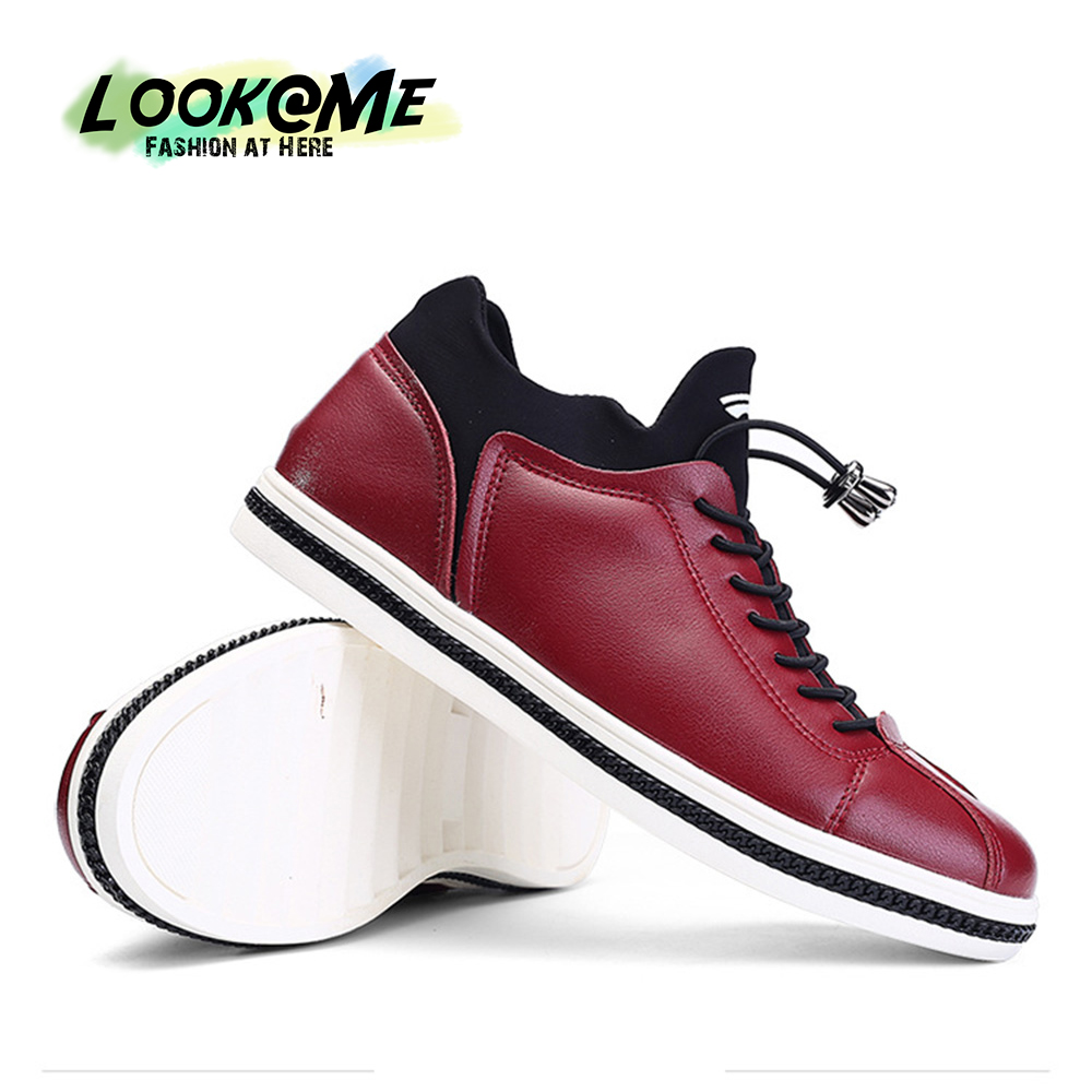 TOP Fashion Casual Shoes Men Red Black Rubber Sole Flats Adult Mens Shoe Good PU Leather Male Cool Designer China Famous Brand - Yilaiyiqu Trading Co.,LTD. store
