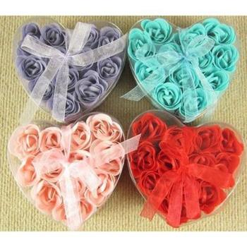 2014 Rose Petal Flower Heart shape Favor Mix Color Soap for Bath Body Wedding Gift 12pcs/set 13*12.5*4CM free shipping