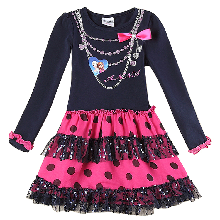 baby girls dress anna elsa 2015 long sleeve knee length casual princess kids chothes