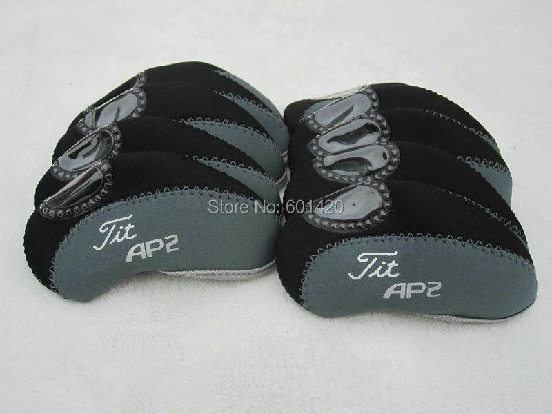 Golf Iron Covers headcover protector for AP Golf 2 irons 10pcs/set Black/Dark grey colors(China (Mainland))